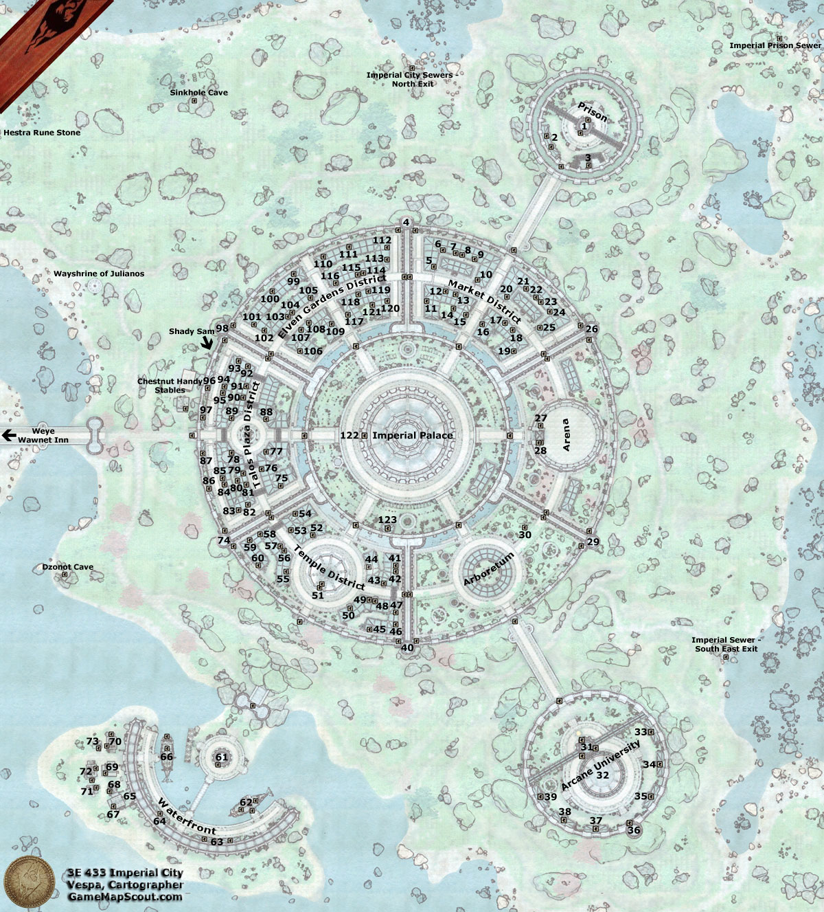 Oblivion Map of Imperial City and its Environs Guide to  : oblivionimperialcity from www.gamemapscout.com size 1200 x 1327 jpeg 456kB