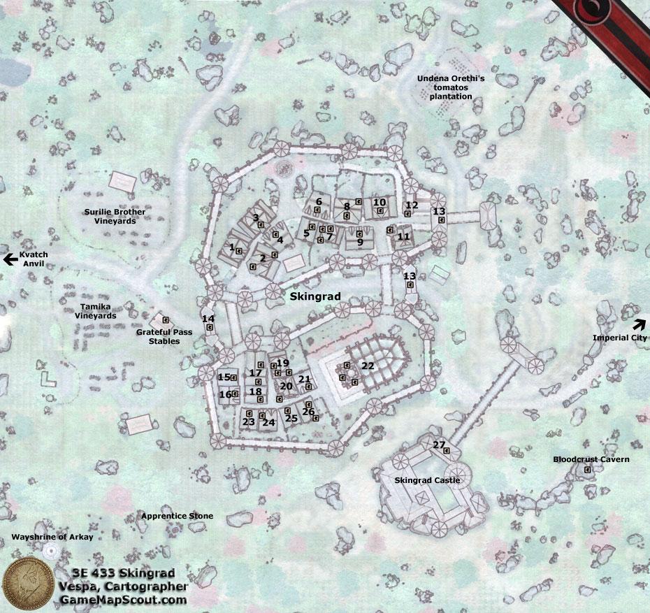 Oblivion Map Of Skingrad Guide To Skingrad