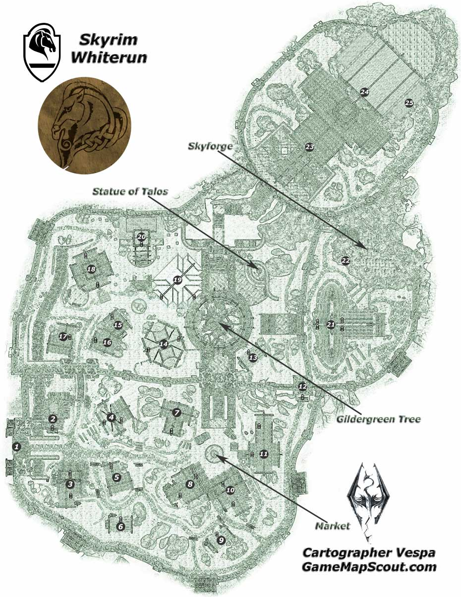 Skyrim Map Of Whiterun Guide To Whiterun